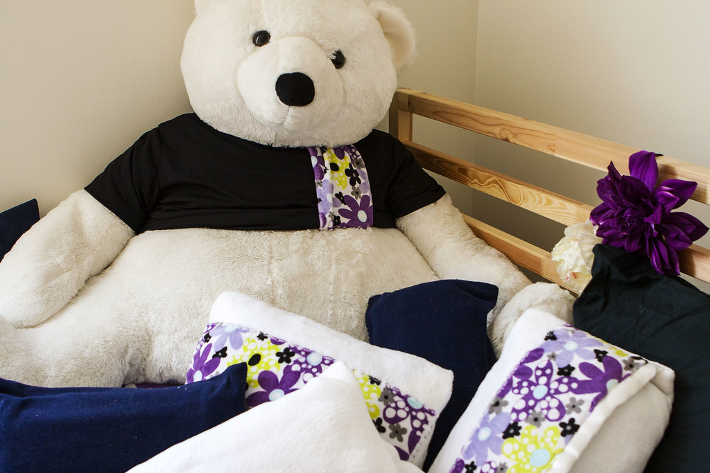 Burr the Polar Bear with Pillowcases made from Baby Blankets and Silk Flower Garland