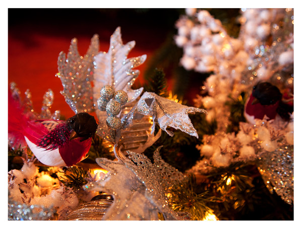 Feathered robins, glittered seeds, glitter edged greenery on a pre-lit artificial wreath