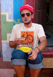 Eli Horowitz enjoying a break and a burger