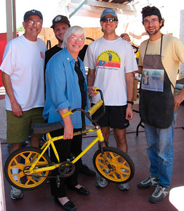 In August, Marty Blum, the mayor of SB makes a donation: a BMX bike from her son who is now 26 years old.  Thank you!