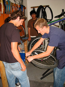 Nathan helping a biker