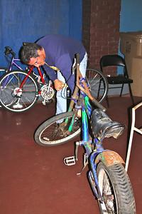 Matt working on a bike display for the Santa Barbara Bowl