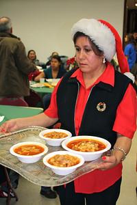 Volunteers serving delicious food