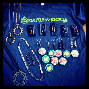 Jewelry made by Recycle-A-Bicycle in NYC
