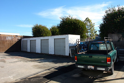Parking lot with storage space.