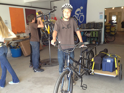 Prepping the mobile bike for SBCC Community Market