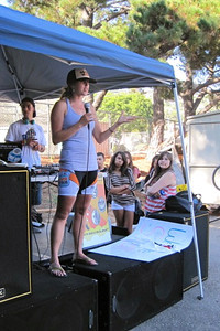 Sara Salo on stage during a visit at the new SBici (bike club at SBHS on Thursdays: 3:00-5:00PM)