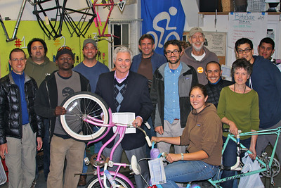 Tim Mahoney (center) from Southern California Gas Company brought a $10,000 grant check to Bici Centro. This grant will help create significant impact toward bettering the air we breathe. Thank you for partnering with the Santa Barbara Bicycle Coalition!