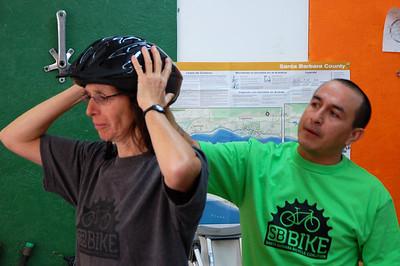 Demonstration of a proper helmet fit.