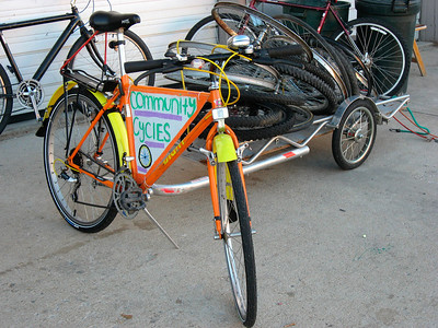 Bike with a trailer to get recyled parts