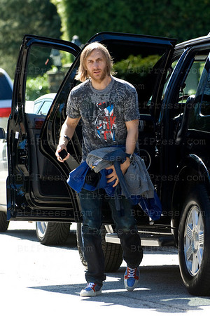 DJ and producer David Guetta visits Johnny Hallyday and Laeticia in Los Angeles with his wife Cathy ,son Tim Elvis Eric,daughter Angie