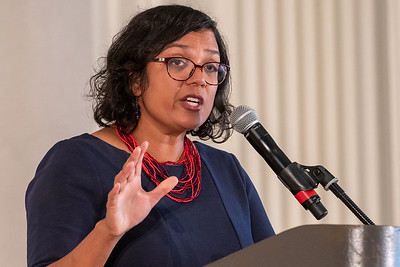 Raahi Reddy, director of Metro's diversity, equity and inclusion program, delivers the keynote address during the A Better Workplace event last week. (Josh Kulla/DJC)