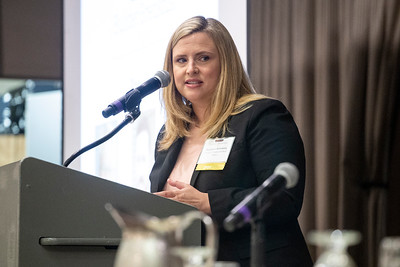 Moderator Stephanie Holmberg introduces panelists Thursday at a DJC Builder Breakfast event focusing on opportunities at Reed's Crossing in Hillsboro. (Sam Tenney/DJC)