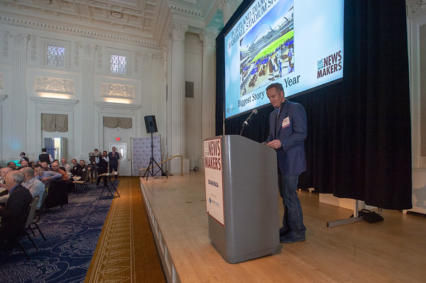 Portland Diamond Project spokesperson Mike Barrett speaks at the Newsmakers luncheon Thursday. (Josh Kulla/DJC)