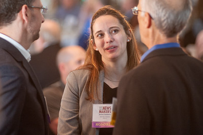 Jaime Sanders of ZGF Architects enjoys conversation prior to the awards ceremony. (Josh Kulla/DJC)