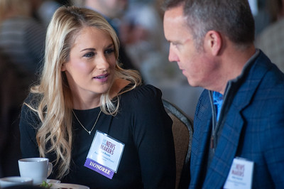 Jen Beyrle and Mike Barrett of the Portland Diamond Project talk at the Newsmakers luncheon. (Josh Kulla/DJC)