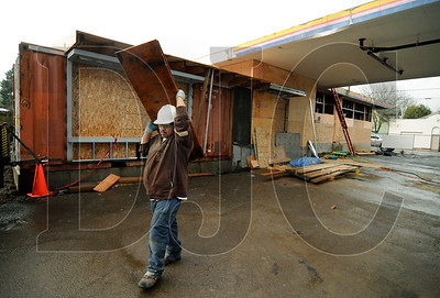Laborer Alex Hernandez works at the site of the June Key Delta Community Center in Northeast Portland on March 25.