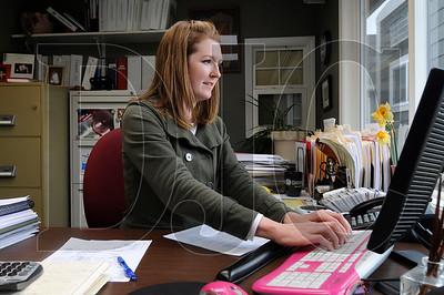 Interstate Roofing owner Shelley Metzler works in her office in Portland on Wednesday.  Sam Tenney / DJC