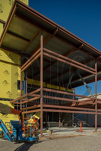 The steel-framed entrance to the high school will feature secured vestibules. (Josh Kulla/DJC)