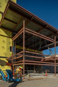 The steel-framed entrance to the high school will feature secured vestibules. (Josh Kulla/DJC)