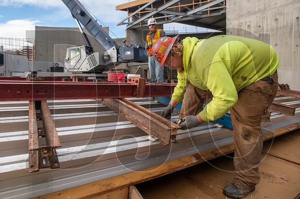 Apprentice carpenter Jake Egger, a member of Local 271 and an employee of T Gerding Construction, constructs a wall form. (Josh Kulla/DJC)