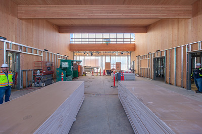 A courtroom at Robert Libke Public Safety Building in Oregon City will feature cross-laminated timber walls and ceilings. (Josh Kulla/DJC)