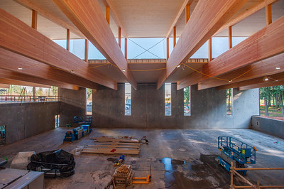 A community center under construction in Hillsboro contains 90-foot-long glulam beams supporting cross-laminated timber ceiling panels. (Josh Kulla/DJC)