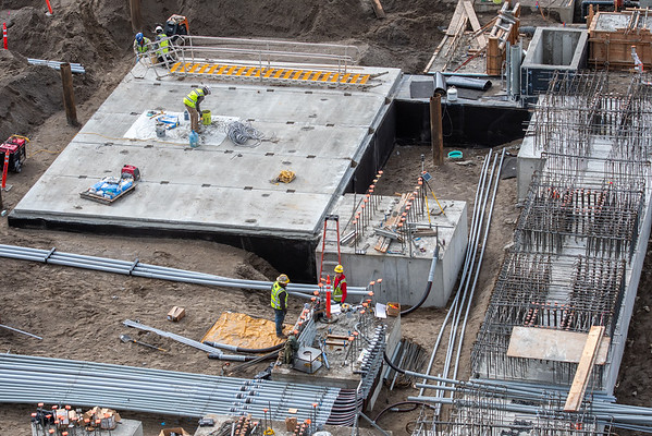 Footings, pile caps and other foundation elements at Portland International Airport are being formed using concrete that contains recycled carbon dioxide. (Josh Kulla/DJC)