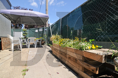 A planter box in a break area at the Breathe Building project site is constructed of wood reclaimed from the project.