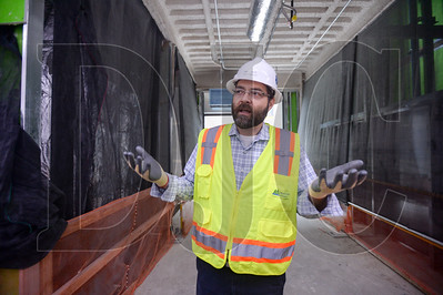 Multnomah County Project Manager Brett Taute explains the details of the county's nine-story, 157,000 square foot Gladys McCoy Health Department Headquarters building currently being built by general contractor J.E. Dunn Construction. (Josh Kulla/DJC)