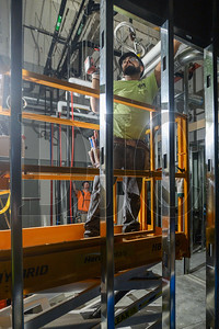 Journeyman Carpenter Rafael Castañeda installs steel framing in the interior of Multnomah County's Gladys McCoy Health Department Headquarters being built by general contractor J.E. Dunn Construction. (Josh Kulla/DJC)