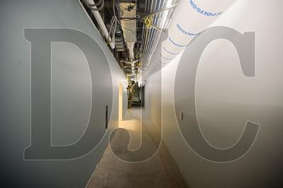 An interior hallway of Multnomah County's Gladys McCoy Health Department Headquarters, where the interior FF&E work is proceeding from the ground floor up. (Josh Kulla/DJC)