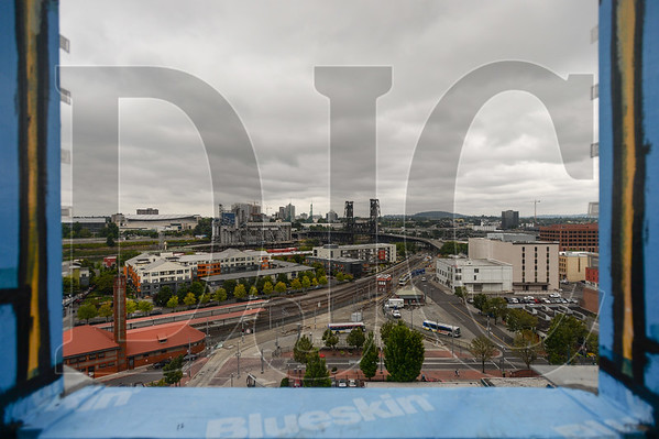The view north from the ninth story of Multnomah County's Gladys McCoy Health Department Headquarters building being built in Northwest Portland by general contractor J.E. Dunn Construction. (Josh Kulla/DJC)