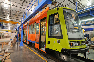 A streetcar being manufactured by Oregon Iron Works subsidiary United Streetcar is one of five being built by the Clackamas-based firm. After a series of delays, the first is scheduled to begin operation Dec. 16.