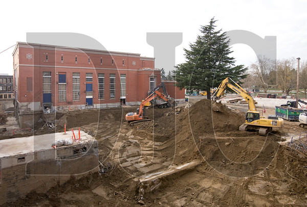 Excavation is ongoing for an expansion and courtyards on the west side of the main building.