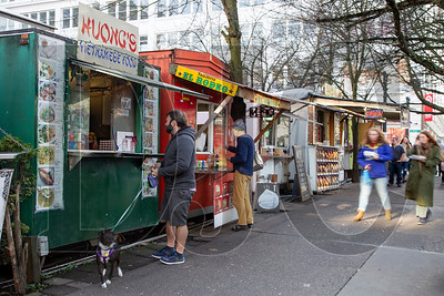 The Block 216 food cart pod once had more than 50 carts, but pending development, rising rents and the closure earlier this year of the nearby O'Bryant Square have caused some owners to seek greener pastures. (Sam Tenney/DJC)