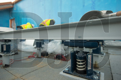Seismic dampening systems are being used to support the Blackburn Center's rooftop mechanical systems.