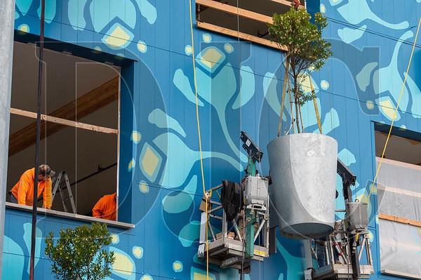 Window installers watch as ironworkers bolt down a steel tree planter. (Josh Kulla/DJC)
