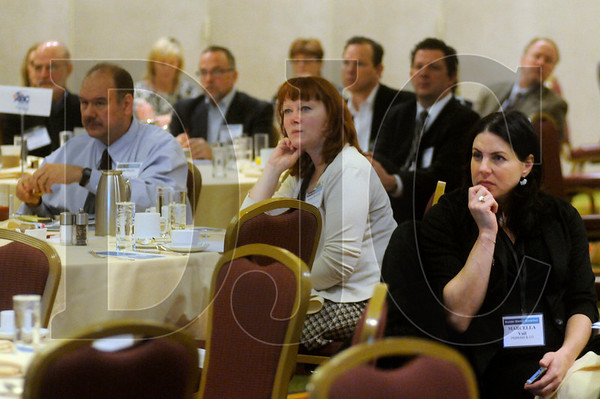 Attendees of the Daily Journal of Commerce's Builder Banker Breakfast listen to a presentation at the Marriott Downtown Waterfront hotel Tuesday.