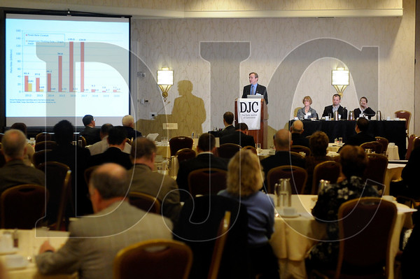 Timothy Kahlberg, a certified public accountant with Perkins & Company, P.C., speaks at the Daily Journal of Commerce's Builder Banker Breakfast at the Marriott Downtown Waterfront hotel in Portland Tuesday.