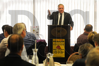 Multnomah County Sheriff Dan Staton delivers the keynote address during the 17th annual Construction Industry Crime Prevention awards luncheon at the Multnomah Athletic Club Feb. 12.