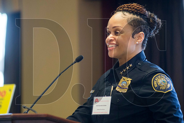 Portland Police Bureau Chief Danielle Outlaw speaks Thursday at the Construction Industry Crime Prevention Program's 22nd annual awards banquet at the Multnomah Athletic Club. (Josh Kulla/DJC)