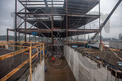 A four-story structural steel classroom wing is currently in progress at the Sherwood High School site. (Josh Kulla/DJC)