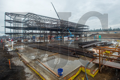 A four-story structural steel classroom wing is being erected at the Sherwood High School site. (Josh Kulla/DJC)
