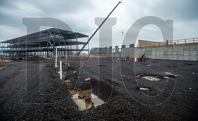 The 342,000-square-foot school is being erected on a 73-acre site. (Josh Kulla/DJC)