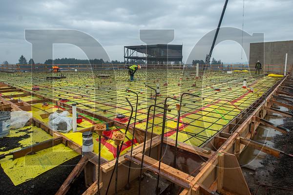 Carpenters with Skanska USA Builders construct formwork. (Josh Kulla/DJC)