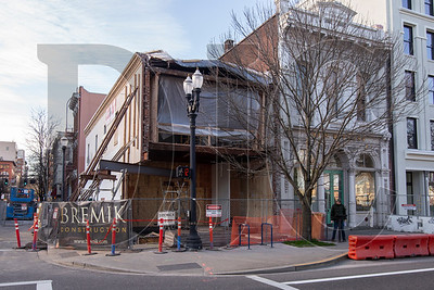 The Hallock-McMillan building, Portland's oldest standing commercial structure, is undergoing a full seismic rehabilitation and reconstruction.  (Sam Tenney/DJC)