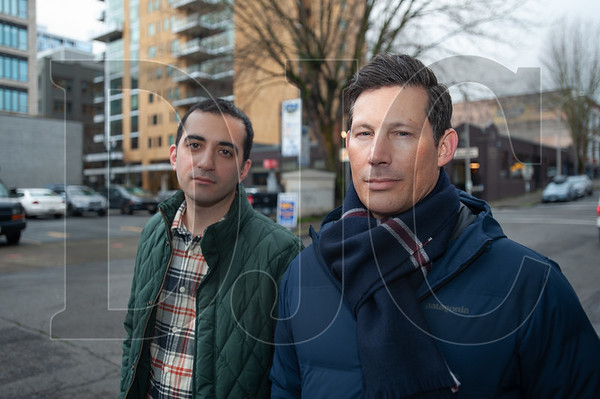 Pearl District Neighborhood Association members David Dysert (left) and Reza Farhood are leading the opposition to a proposed 23-story Hyatt Place hotel at Northwest 12th and Flanders in the Pearl District. (Josh Kulla/DJC)