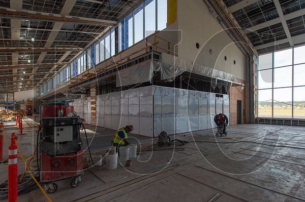 Terrazo flooring is being installed in Concourse E. (Josh Kulla/DJC)