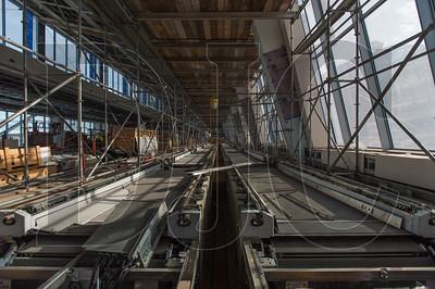 The new two-lane people mover for Concourse E is currently being constructed. (Josh Kulla/DJC)